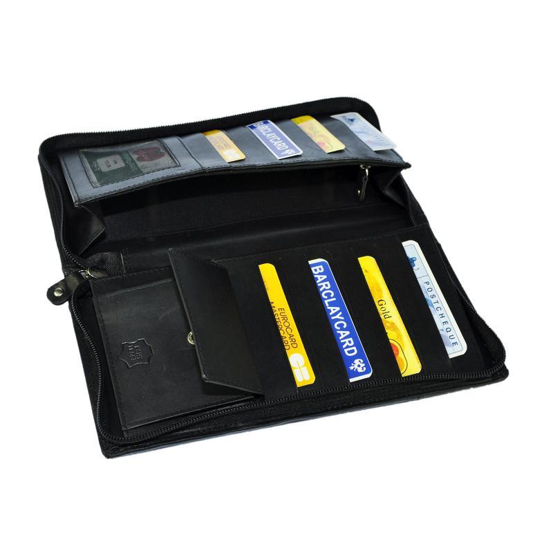 Hoch Wertige Leder Reisebrieftasche Brieftasche Reise Etui Bordkartenetui Organizer Schwarz