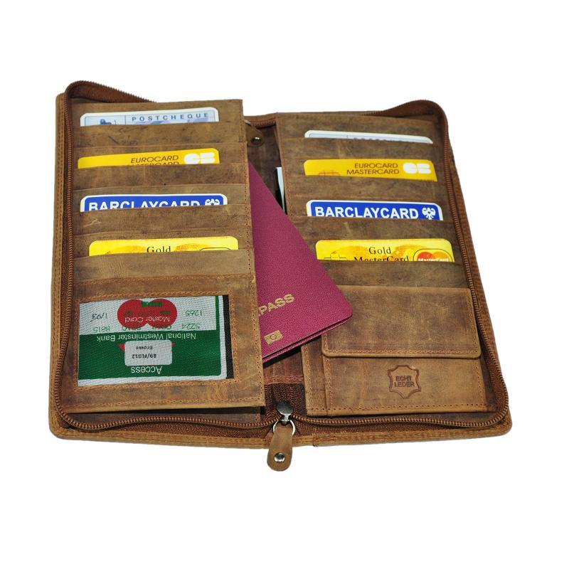 Hoch Wertige Leder Reisebrieftasche Brieftasche Reise Etui Bordkartenetui Organizer Braun Wintage