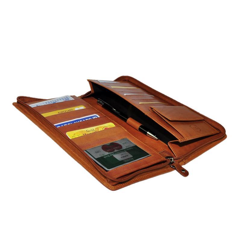 Hoch Wertige Leder Reisebrieftasche Brieftasche Reise Etui Bordkartenetui Organizer Tan / Conjac