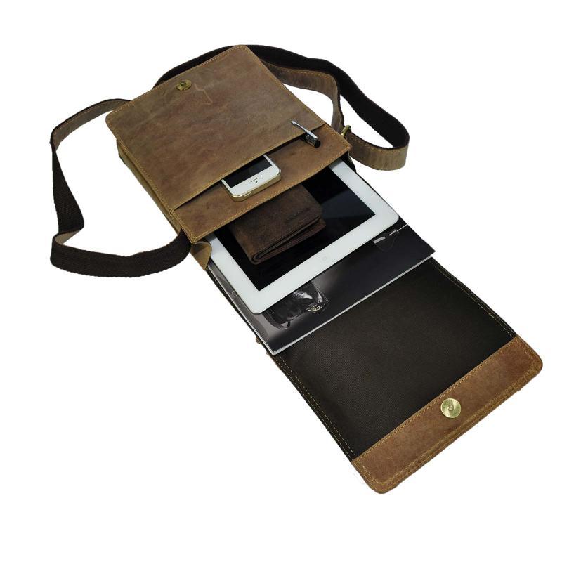 Umhängetasche aus echtem Voll-Leder im Vintage Look mit IPad-Fach, Unisex Echtleder - Braun Wintage