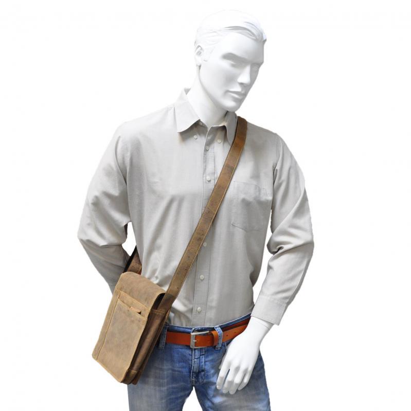 Umhängetasche aus echtem Voll-Leder im Vintage Look mit IPad-Fach, Unisex Echtleder - Tan Wintage