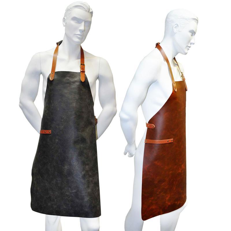 Neu Hoch Wertiger Grillschürze / Lederschürze / Kellnerschürze aus Leder, Geeignet für Barista, Gastronomie & Grillen Schwarz Wintage