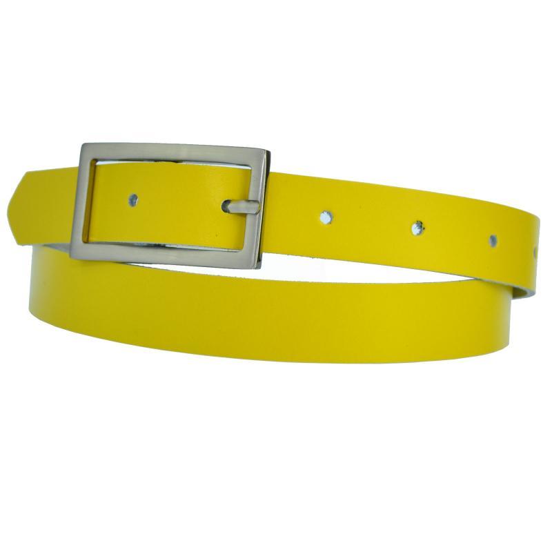 Gelb Schmal 2cm Breit Echt Leder Guertel mit 4 Eckiger Schnalle Wählbar aus 11 Längen