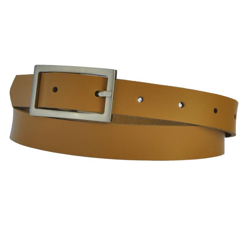 Beige / Kamel  Schmal 2cm Breit Echt Leder Guertel mit 4 Eckiger Schnalle Wählbar aus 11 Längen