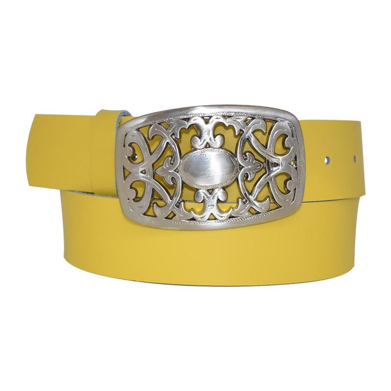 Gold-Gelb Damengürtel Gürtel floral Gürtelschnalle Blumenmuster Ledergürtel