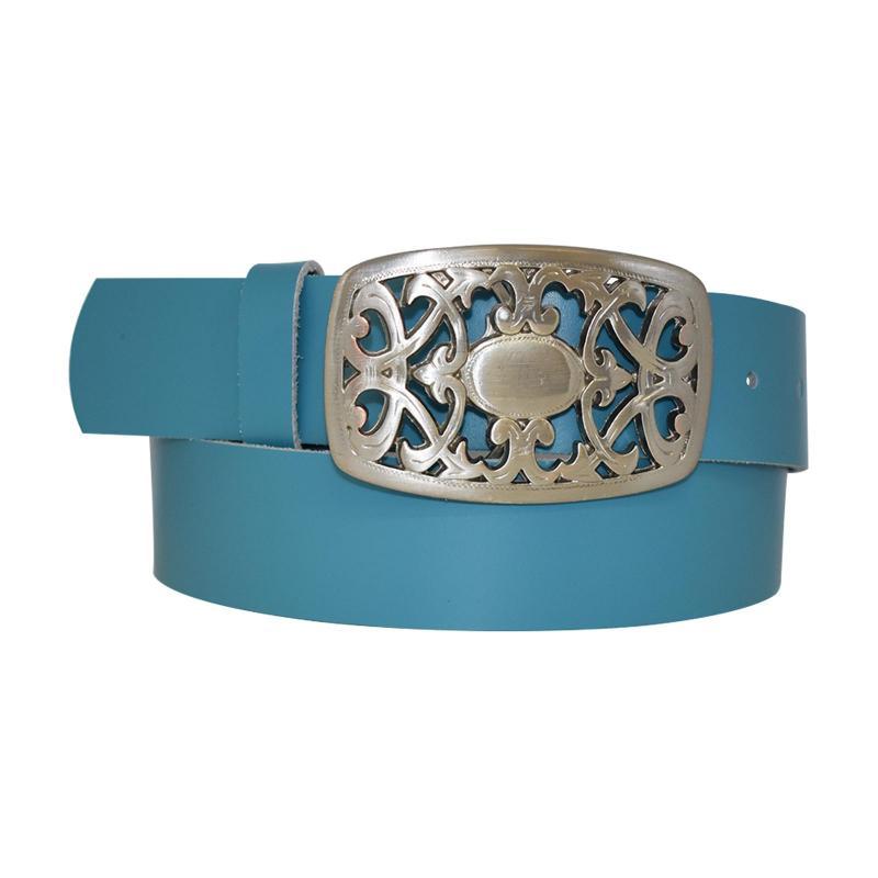 Hell Blau Damengürtel Gürtel floral Gürtelschnalle Blumenmuster Ledergürtel