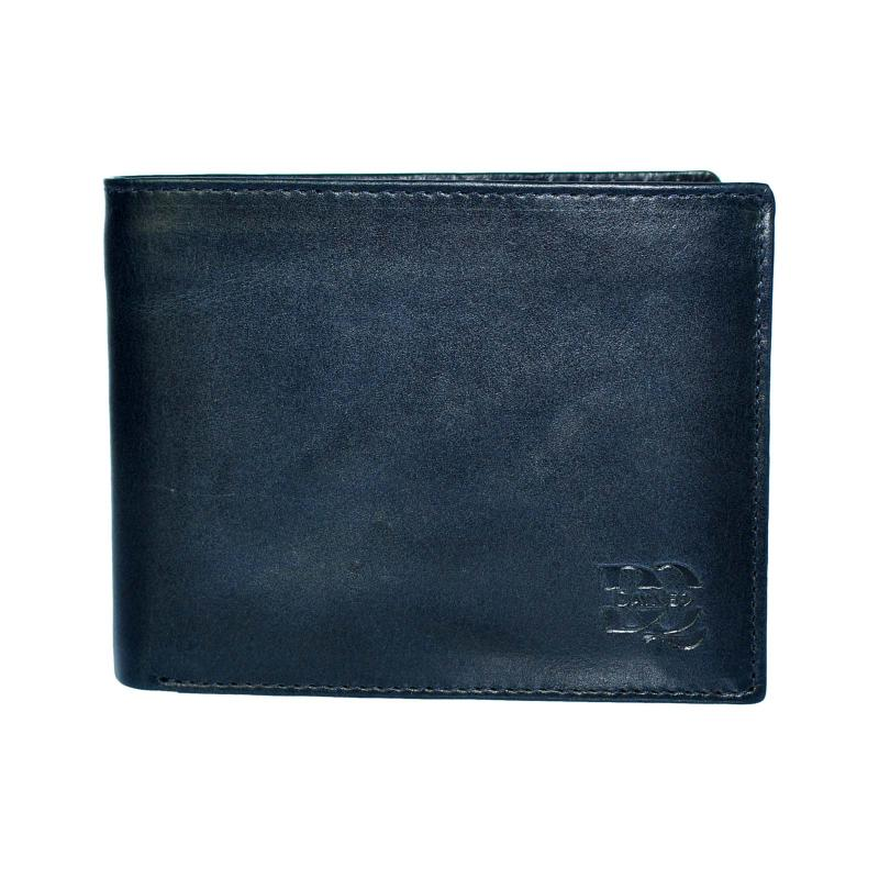 DayneQ Leder Portemonnaie Geldbörse für Männer Quer Format Echt Leder  Blau
