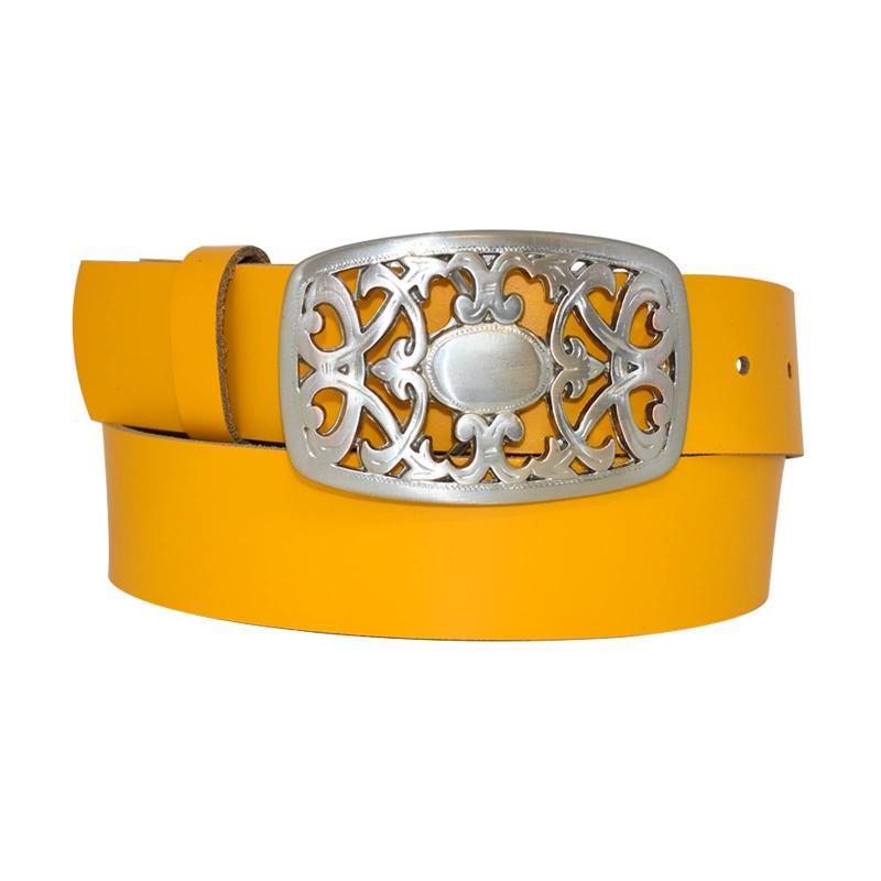 Orange Damengürtel Gürtel floral Gürtelschnalle Blumenmuster Ledergürtel