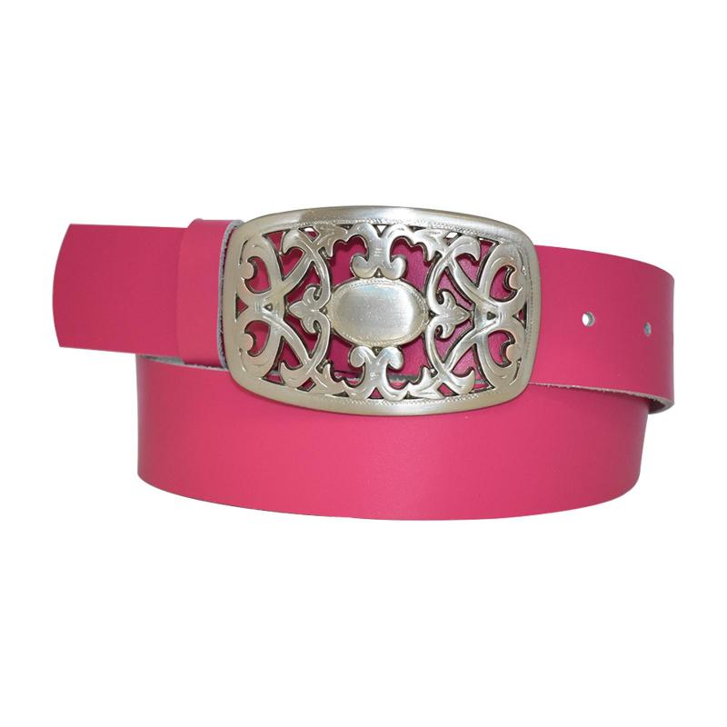 Pink Damengürtel Gürtel floral Gürtelschnalle Blumenmuster Ledergürtel