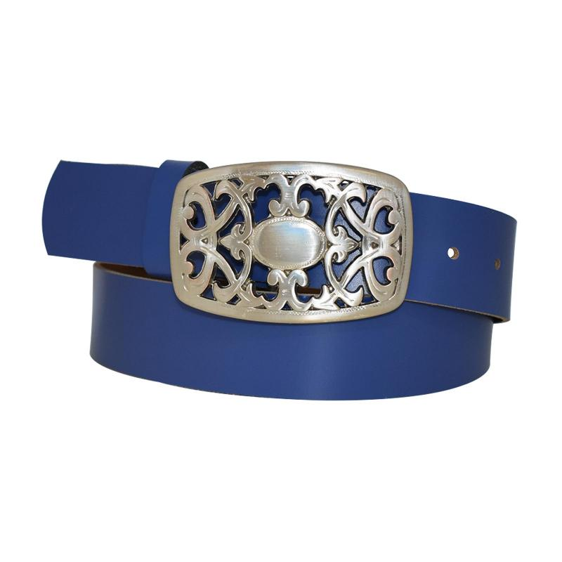 Royal Blau Damengürtel Gürtel floral Gürtelschnalle Blumenmuster Ledergürtel