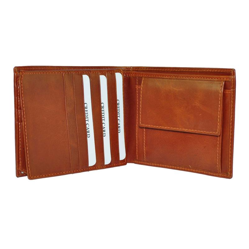 DayneQ Leder Portemonnaie Geldbörse für Männer Quer Format Echt Leder  TAN