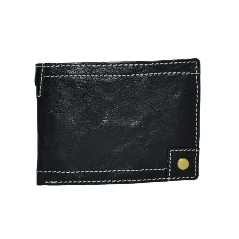 Leder Portemonnaie Geldbörse für Männer Quer Format Echt Leder Grob Genarbt Schwarz Used Look