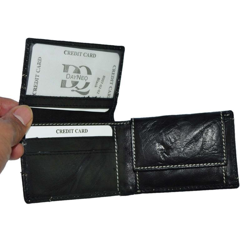 Klein Leder Portemonnaie Geldbörse Quer Format Echt Leder Grob Genarbt Schwarz Used Look
