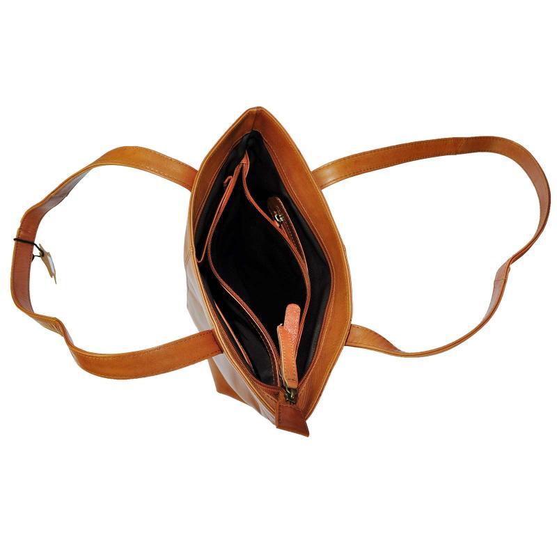 Luxus Handtasche aus hochwertigen Echt Leder TAN / Conjac