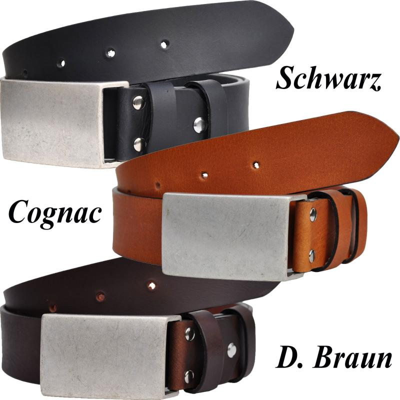 Altsilber Schnalle 4cm Breit VOLL Leder Guertel Echtleder Real Leather OT40-KOPEL