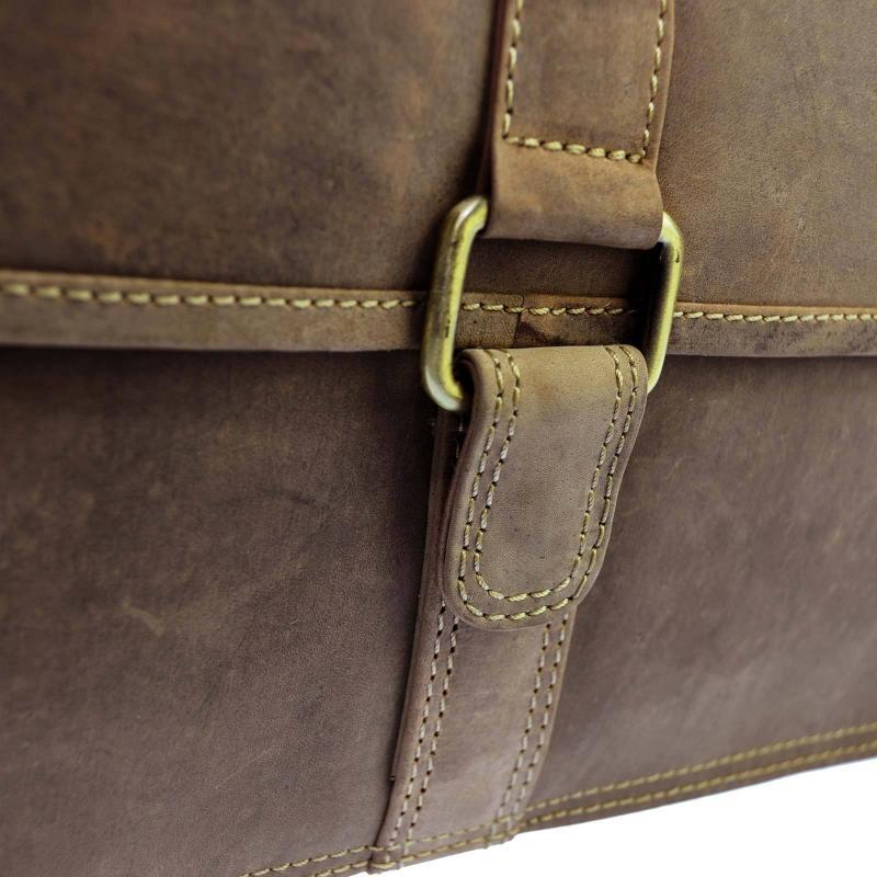 Umhängetasche aus echtem Voll-Leder im Vintage Look mit IPad-Fach, Unisex Echtleder